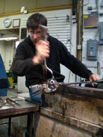 Older glass-blowing Brian Barber